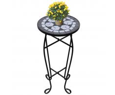 Tavolino Piante Modello Mosaico Bianco e Nero