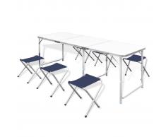 vidaXL Set Tavolo da Campeggio Pieghevole con 6 Sedie Regolabili 180 x 60 cm