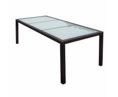 vidaXL Tavolo da Pranzo per Giardino in Polirattan 190x90x75 cm Marrone