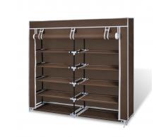 vidaXL Scarpiera armadio in tessuto richiudibile 115 x 28 110 cm Marrone