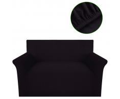 vidaXL Copridivano Fodera divano 2 posti elastico poliestere marrone