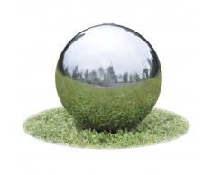 vidaXL Fontana da giardino a sfera con LED in acciaio inossidabile 30 cm