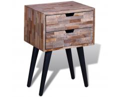 vidaXL Comodino con 2 cassetti in legno anticato di teak