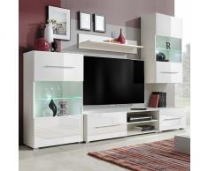 vidaXL 5 Pz Unità Mobile Vetrina TV a Parete Illuminazione LED Bianco