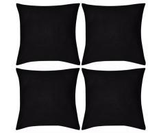 vidaXL Set 4 Federe in cotone nere 80 x cm