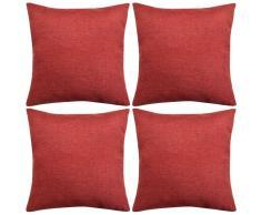 vidaXL Set 4 Federe per Cuscini in Simil-Lino Rosso Borgogna 50x50 cm