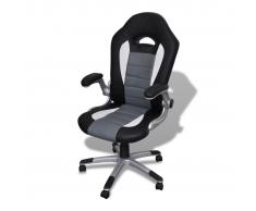 vidaXL Sedia ufficio in pelle design moderno grigio