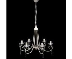 vidaXL Lampada da soffitto pendente elegante lampadario bianco 6 portalampade