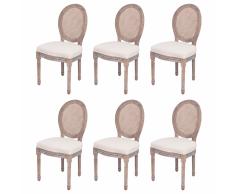vidaXL 6 Pz Sedie per Sala Da Pranzo in Tela e Rattan