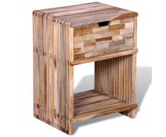 vidaXL Comodino con cassetto in legno anticato di teak