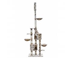 vidaXL Casina ad albero da coccole per gatto XL Peluche Beige impronte
