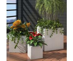 vidaXL Set 3 fioriere quadrate da giardino in rattan bianco