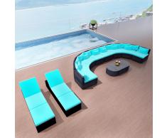 vidaXL Divano da Giardino con Sedie a Sdraio Polyrattan Blu Tropicale