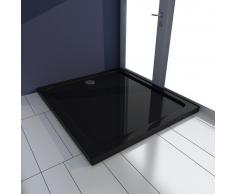 vidaXL Piatto doccia rettangolare in ABS nero 80 x 90 cm