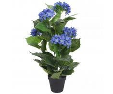 vidaXL Ortensia Artificiale con Vaso 60 cm Blu