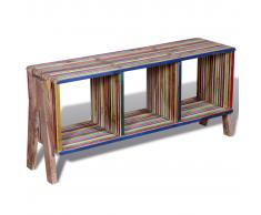 Mobile TV con 3 mensole impilabile in legno anticato colorato di teak