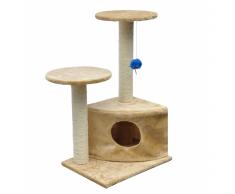 vidaXL Casina ad albero per gatto 70 cm Peluche Beige