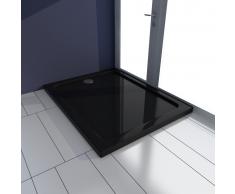 vidaXL Piatto doccia rettangolare in ABS nero 70 x 90 cm