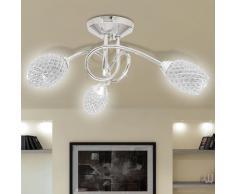 vidaXL Lampada da soffitto lampadario bianco in acrilico per 3 lampadine G9