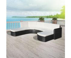 vidaXL Set divano da giardino 16 pezzi in polyrattan nero