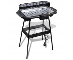 vidaXL Barbecue elettrico rettangolare da giardino con grill e supporto