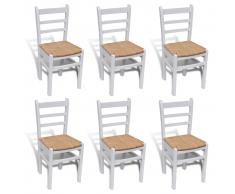 vidaXL 6 Pz Sedie per Sala da Pranzo Laccate in Legno Bianco