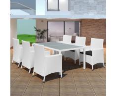 vidaXL 13 Pz Set Sedie/Tavolo da Giardino in Polirattan Bianco Crema