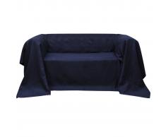 vidaXL Fodera per divano in micro-camoscio blu marino 140 x 210 cm