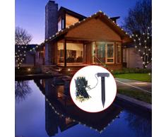 vidaXL Luci striscia solare LED bianco caldo addobbo natalizio