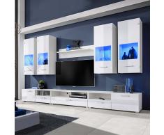 Set 8 mobili con vetrina bianco brillante unità TV e luci blu a LED