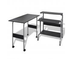 vidaXL Tavolo scrivania per computer postazione di lavoro regolabile nera