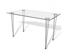 vidaXL Tavolo da Pranzo con Piano Superiore in Vetro Trasparente