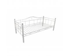 vidaXL Divano letto di metallo 90 x 200 cm Bianco