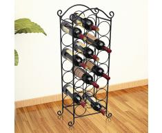 vidaXL Porta bottiglie di vino in metallo per 21