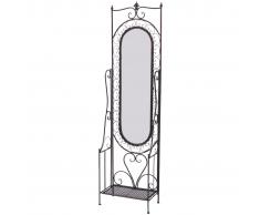 vidaXL Specchio verticale shabby in ferro antico nero