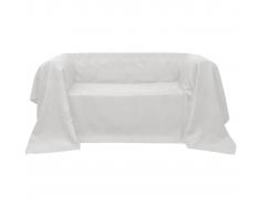 vidaXL Fodera per divano in micro-camoscio crema 140 x 210 cm