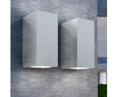 vidaXL Applique LED Parete Esterno Quadrata 2 pz Proiezione Alto Basso