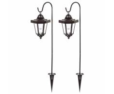 SMARTWARES Illuminazione lampione per giardino solare 2 pezzi 0,12 W nero GOS-001-DB