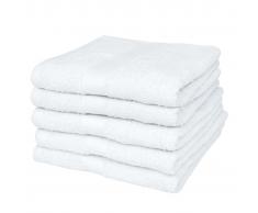 vidaXL Set 5 pz Asciugamani cotone 100% 500 gsm 100 x 150 cm bianchi