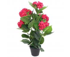 vidaXL Ortensia Pianta Artificiale con Vaso 60 cm Rossa