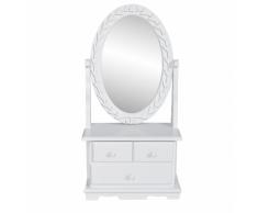 vidaXL Tavolo make up stile classico con specchio ovale oscillante