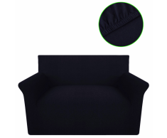 vidaXL Copridivano Fodera divano 2 posti elastica maglia cotone nero
