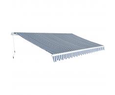 vidaXL Tenda da Sole Pieghevole Manualmente 5x3 m Blu e Bianca