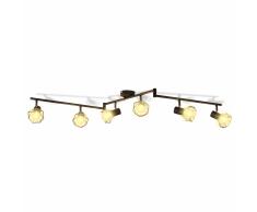 vidaXL Faretto stile industriale nero con 6 lampadine ad incandescenza a LED
