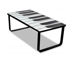 Tavolino per Caffè Vetro con Stampa Pianoforte