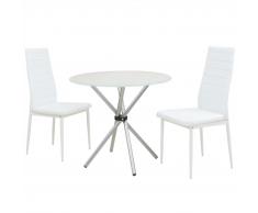 vidaXL Set 3 pezzi Tavolo e Sedie da Pranzo Bianco