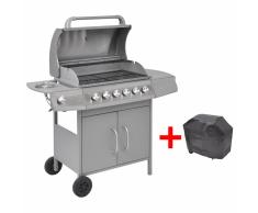 vidaXL Grill Barbecue a Gas 6+1 Fornelli Argentato