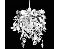 vidaXL Lampadario da Soffitto Paralume Foglie Pailette 21,5 x 30 cm Argento