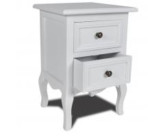 Comodino stile provenzale in legno con 2 cassetti bianco