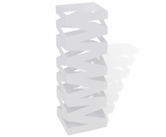 vidaXL Portaombrelli e bastoni da passeggio bianco quadrato acciaio 48,5 cm